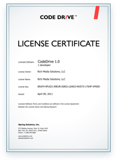 CodeDrive License Certificate